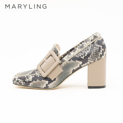 MARYLING玛俪琳2021春季蟒蛇纹真牛皮穆勒鞋粗跟方头高跟鞋A1AASB009图片