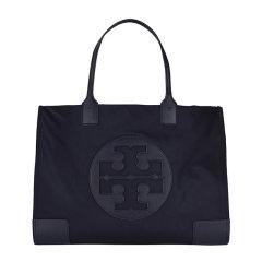 【包税】Tory Burch/汤丽柏琦 女士黑色织物配皮革logo印花内置主袋拉链贴袋时尚单肩包手提包女包 55228-001图片