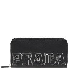 【包邮包税】PRADA/普拉达 女士黑色皮革徽标贴饰长款钱包卡包手拿包女包 2ML317-2EC4(99新S级未使用)图片
