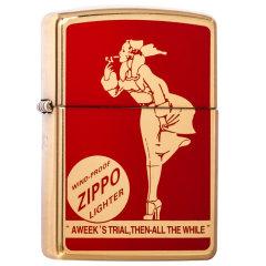 Zippo芝宝打火机  之宝火机 原装进口 厚壳机 盔甲风中女郎 皮礼盒装 四色可选图片