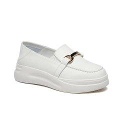 波士威尔 小白鞋女鞋子 2021年新款 夏季薄款厚底 透气春款增高鞋 春秋懒人单鞋图片