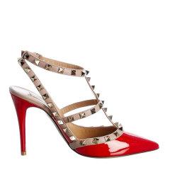 Valentino 华伦天奴 女士 鞋靴 21春夏 铆钉漆皮细跟尖头高跟鞋 女士高跟凉鞋图片