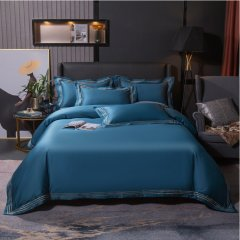 纯色简约100支纱宽边刺绣全棉四件套 被套床单4件套1.51.8米床-摩卡图片