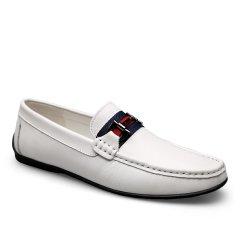 波士威尔  大码高端韩版白色豆豆鞋 男真皮软底2021年新款 头层牛皮休闲皮鞋潮图片