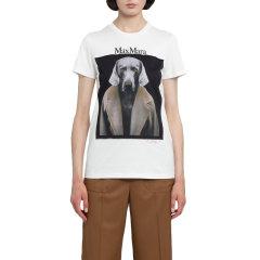 【2周左右发货】MAX MARA 麦丝玛拉 女士 服装 圆领字母LOGO狗图案棉质短袖T恤 多色可选 女士短袖T恤图片