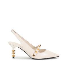 【国内现货】Valentino/华伦天奴 2021款 女士羊皮ROCKSTUD铆钉装饰尖头高跟皮鞋露跟凉鞋 VW2S0BK6 GYH图片