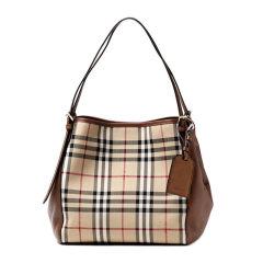 【包税】BURBERRY/博柏利 奥莱款 女士棕色格纹牛皮格纹时尚托特挎包手提包女包多色可选图片