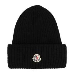 【包税】Moncler/蒙克莱 男士 黑色徽标无檐小便帽毛线帽 男士帽子 3B00048-M1127-999图片