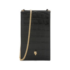 AlexanderMcQueen/亚历山大麦昆 女士牛皮革骷髅头单肩斜挎包链条包手机包 632035 1JMFG图片