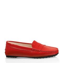 Tod's/托德斯 女士City红色牛皮LOGO烫印豆豆鞋图片