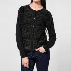 ARMANI JEANS/阿玛尼牛仔女针织衫-女士牛仔系列黑棉质休闲针织衫图片