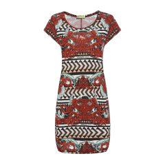VERSACE JEANS/范思哲牛仔#女士红/多色粘胶纤维印花短袖连衣裙图片