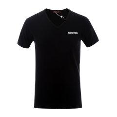Roberto Cavalli/罗伯图 卡维里 男士短袖T恤 棉质V领黑色男士短袖T恤图片