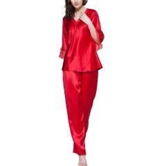 【DesignerWomenwear】LILYSILK/莉莉秀客女睡衣/家居服优雅真丝睡衣女士22姆米桑蚕丝套装丝绸俩件套图片