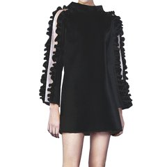 NAMAS MIYO/NAMAS MIYO 小云朵边拼接透视羊毛有趣造型纯手工缝制进口羊绒女士连衣裙图片