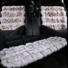 pinganzhe 汽车冬季狐狸毛三件套坐垫 汽车狐狸毛冬季座垫 汽车座垫深咖色图片