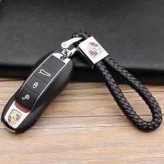 pinganzhe  保时捷专用汽车新款带车标钥匙扣 手编织真牛皮钥匙链 钥匙圈锁匙环 男士女士 创意 汽车用品图片