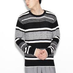 TAKEO KIKUCHI/菊池武夫 男士花样编织横条纹圆领套头针织衫 17012109图片