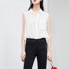 MO&Co./摩安珂女士短袖衬衫2018夏季新品翻领钉珠飘带真丝无袖上衣MA182SHT115图片
