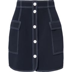 【Designer Womenwear】YE'SbyYESIR/YE'SbyYESIR 18秋冬叶谦原创品牌藏蓝色撞色明线半裙 女士半身裙图片