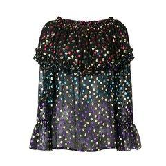 SAINT LAURENT PARIS/SAINT LAURENT PARIS 18年秋冬 女士 波点 透视 黑色 女士长袖衬衫 508394Y446S8494图片