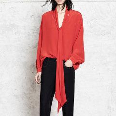 MO&Co./摩安珂女士长袖衬衫简约V领宽松复古衬衫女纯色真丝衬衣图片