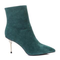 Benative/本那2017秋冬新款女靴反绒皮细跟钻石装饰短靴BN01735182 孔雀绿 36图片