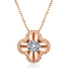 CGC/CGC中银金行18K金项链钻石项链玫瑰金项链幸运四叶花造形双面配戴正面钻石反面黑玛瑙孔雀石多色可选图片