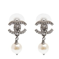 CHANEL/香奈儿  女士新款经典双C水钻珍珠耳钉 A58529-CA07图片