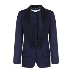 Stella McCartney/丝黛拉麦卡妮羊毛材质拼色领设计女士西服 深蓝色 意码40图片
