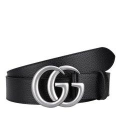 GUCCI/古驰  牛皮GG银色作旧带头扳扣式中性腰带# 406831 DJ20N 1000图片