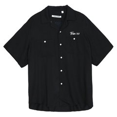 MOCO男装品牌COMMON GENDER/COMMON GENDER男士短袖衬衫华晨宇同款字母印花冰丝短袖衬衫男图片