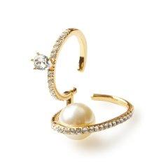 【DesignerJewelry】【O.YANG/O.YANG】双指戒指一体连戒水晶珍珠女戒镀金活口旋转多种戴法指环图片