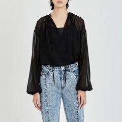 MO&Co./摩安珂女士长袖衬衫MOCO2018秋季新品V领系带灯笼袖轻薄上衣图片