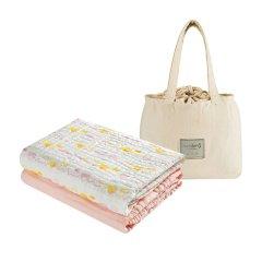 【买一送一 共4条】Hosiking/好心情6层纱布浴巾两条装婴儿浴巾包被盖毯新生儿礼盒礼袋两条装图片