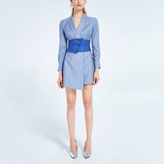 【DesignerWomenswear18秋冬新品】LadySElite/LadySElite青果领不对称西装裙两色女士连衣裙图片