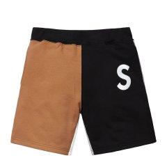 Supreme 19SS S Logo Colorblocked Sweatshort拼接刺绣短裤图片