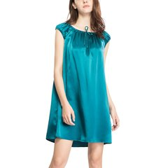 【DesignerWomenwear】LILYSILK/莉莉秀客女睡衣/家居服真丝睡裙女夏桑蚕丝短袖睡裙丝绸家居纯色睡裙图片