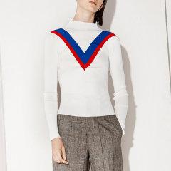 MO&Co./摩安珂女士针织衫/毛衣简约罗纹立领撞色V字修身长袖针织上衣MA171SWT303图片