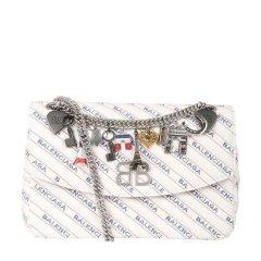 Balenciaga女士BB圆领M链条装饰单肩包白色白色图片