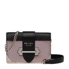 Prada/普拉达18秋冬Cahier系列女士小牛皮星月款时尚链条单肩斜挎包黑拼棕色图片