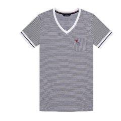 HAZZYS/哈吉斯 2018夏季新款T恤衫女时尚V领条纹女士短袖T恤ASTSE08BE41图片