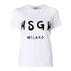 【Designer Womenwear】MSGM/MSGM  2018年春夏新品 女士白色LOGO印花短袖T恤  2441MDM60 184299 01图片