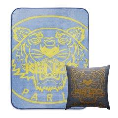 KENZO/高田贤三 虎头毯 + 虎头提花靠垫  经典组合 (蓝色、灰色)图片
