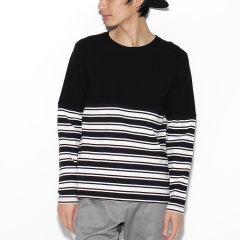 TAKEO KIKUCHI/菊池武夫 男士拼接设计横条纹圆领套头针织衫 17032103图片
