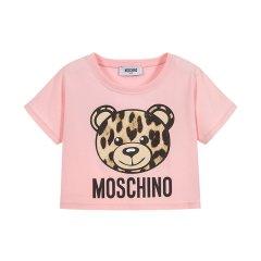 19春夏新品 MOSCHINO KIDS/MOSCHINO KIDS 女童混纺小熊 图案T恤 HDM02S LBA10图片
