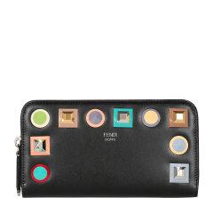 【17新品】FENDI/芬迪  PORTAFOGLIO系列 彩虹铆钉牛皮革拉链女士长款钱包 8M0299SR0图片