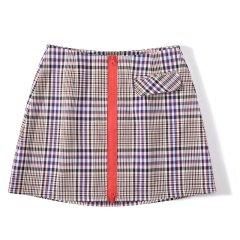 【DesignerWomenwear】5min/5min原创2018新品上市麻雀学院格纹短裙女士半身裙 张紫宁同款 咖色格纹时尚短裙图片