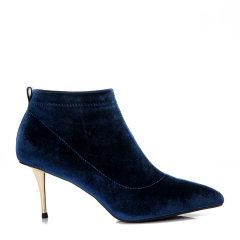 BENATIVE/本那2017秋冬新品 细跟高跟鞋尖头弹力真丝绒及踝靴BN01735093图片