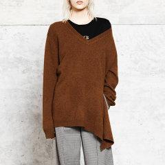 MO&Co./摩安珂女士针织衫/毛衣复古V领不规则开衩下摆羊毛衫女MA173SWT310MO&Co./摩安珂图片